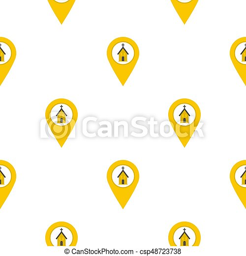 yellow map pointer with church sign pattern flat yellow map pointer