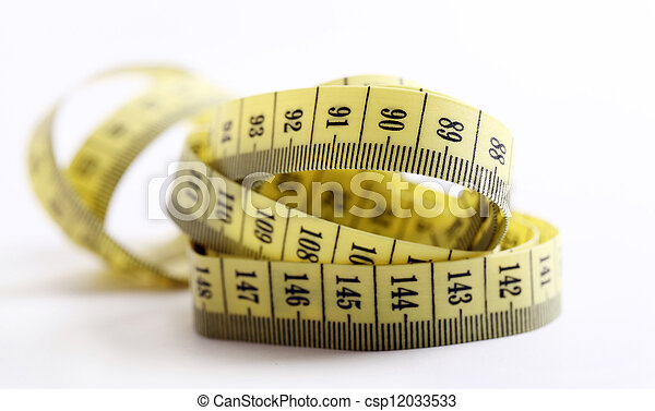 Yellow measure tape over white background - csp12033533
