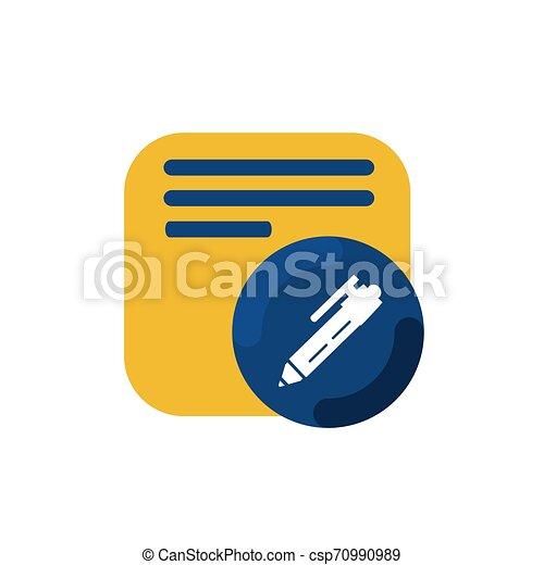 yellow memo and pen button icon and logo vector - csp70990989