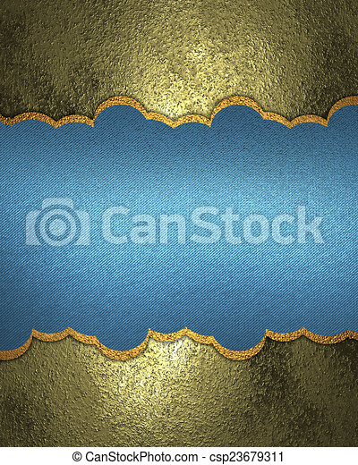 Yellow metallic background with a blue sign - csp23679311
