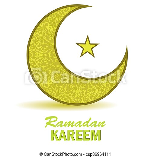 Yellow Moon And Star On White Background Vector