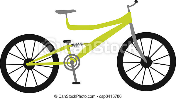 yellow mountain bike with modern frame and shock absorber clip art rh canstockphoto com mountain bicycle clip art clipart mountain bike