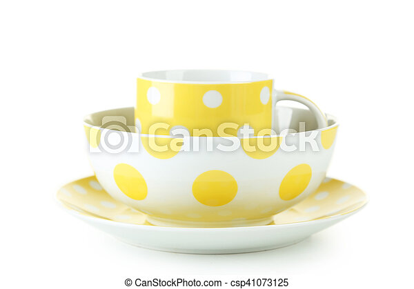 Yellow mug and bowl isolated on white - csp41073125