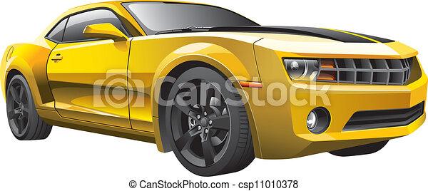 yellow muscle car - csp11010378