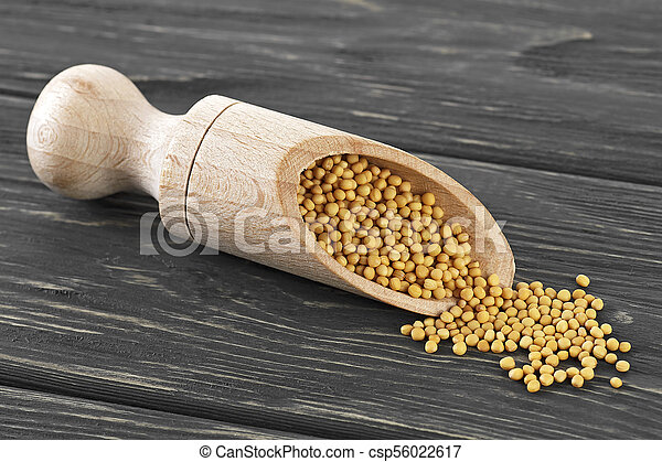 Yellow mustard seeds in wooden scoop on wood background - csp56022617