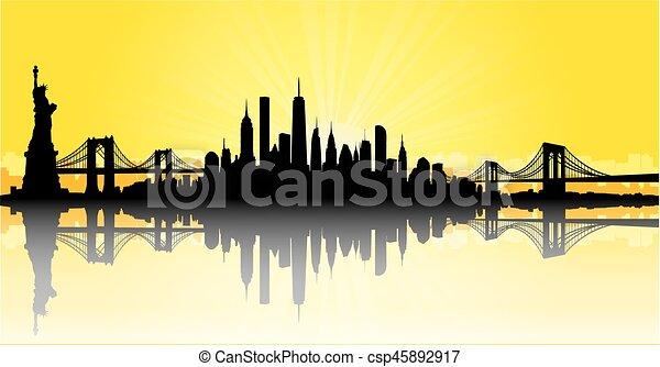 Yellow New York City Skyline Vector Vector Of The New York Skyline