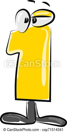 Yellow number one with eyes, illustration, vector on white background. - csp71514341