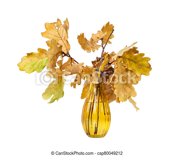 Yellow oak leaves in a vase of colored glass - csp80049212