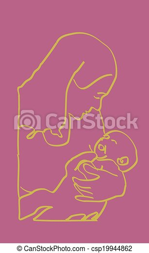 Yellow on Pink Mother Infant Sketch - csp19944862