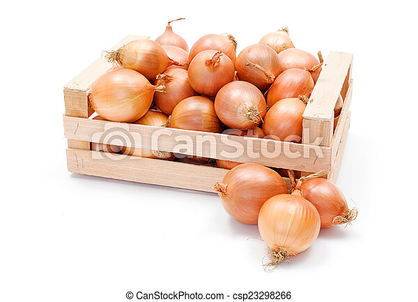 Yellow onions in wooden crate - csp23298266