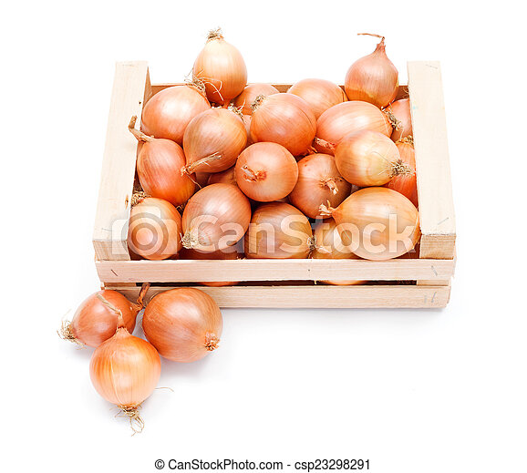 Yellow onions in wooden crate - csp23298291