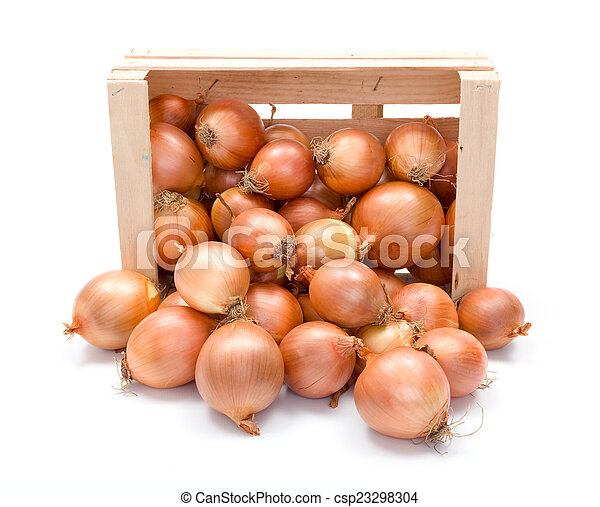 Yellow onions in wooden crate - csp23298304