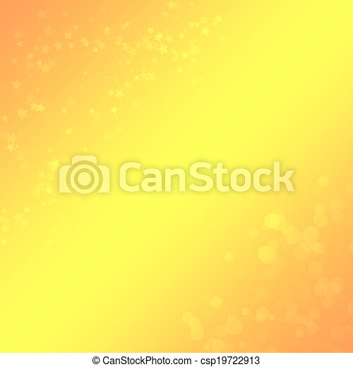 Yellow-orange background with a bokeh and stars for design - csp19722913