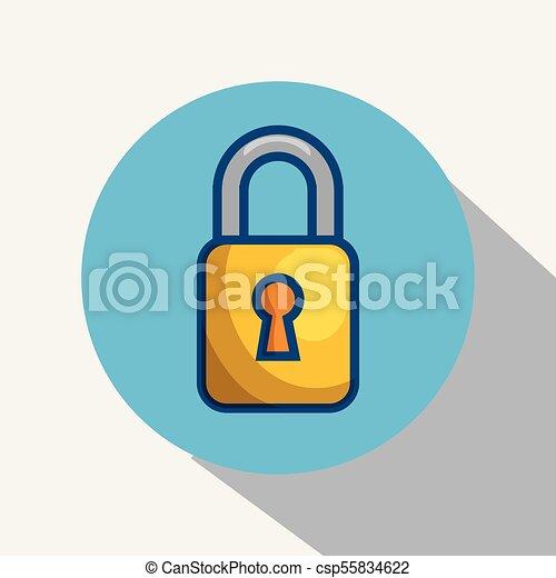 Yellow padlock icon. - csp55834622