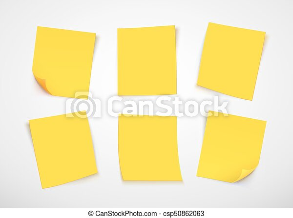 yellow paper notes post it note vector illustration rh canstockphoto com post sticky note vector Custom Post It Notes
