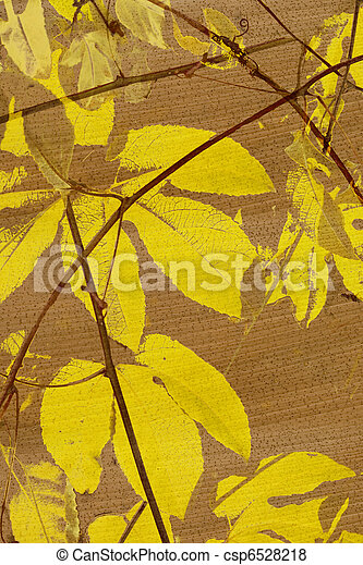 Yellow Passion Fruit Leafs Print On Coconut Paper Textured Background Yellow Passion Fruit Leafs Print On Coconut Paper