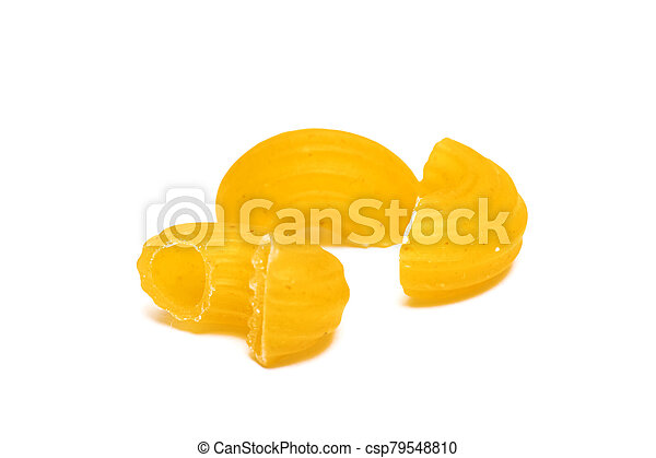 Yellow pasta isolated on a white background - csp79548810