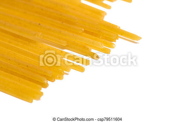 Yellow pasta isolated on a white background - csp79511604