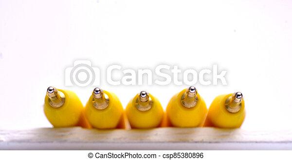 Yellow pen on white background - csp85380896