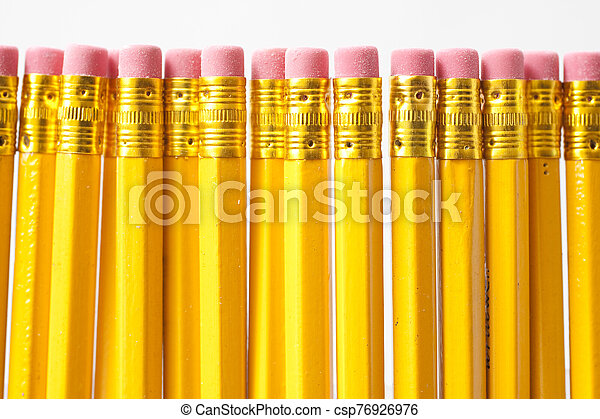 Yellow pencils isolated on white background - csp76926976