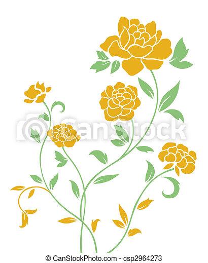Yellow peony pattern drawing of yellow flower in a white background yellow peony pattern csp2964273 mightylinksfo