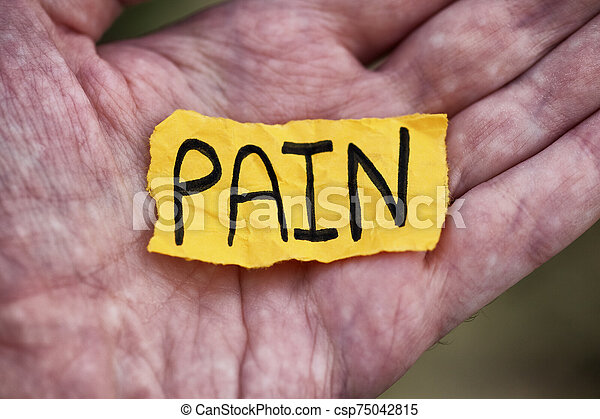 Yellow piece of paper with the word Pain - csp75042815
