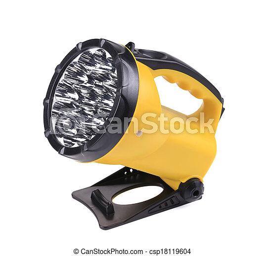 Yellow plastic pocket handle flashlight. - csp18119604