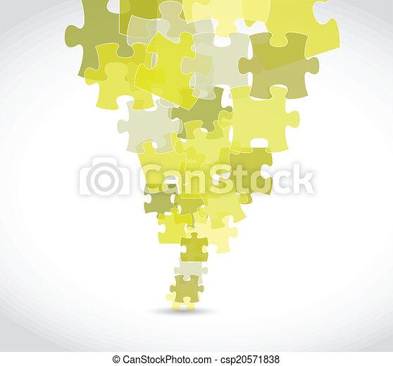 yellow puzzle pieces illustration design - csp20571838