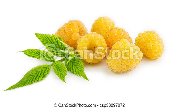 Yellow raspberries isolated on the white background - csp38297072