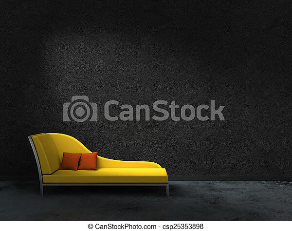 yellow recamier and black wall - csp25353898
