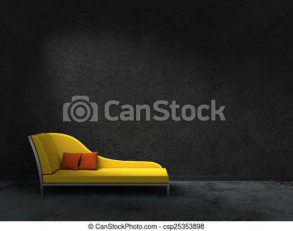 yellow recamier and black wall - csp25353898