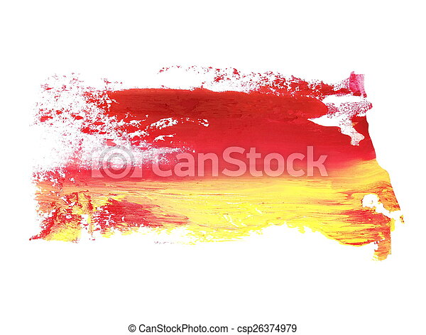yellow red brush strokes oil paint - csp26374979