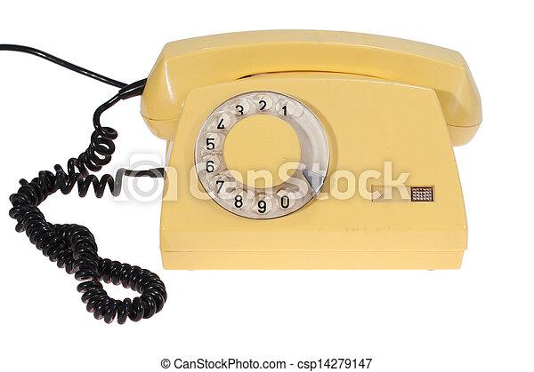 yellow retro phone - csp14279147