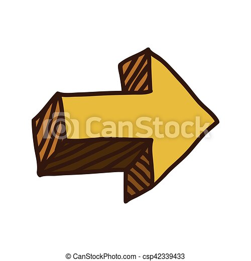 Yellow Right Arrow Symbol Icon Vector Illustration