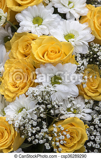 Yellow Roses And Baby S Breath Flower Bouquet In Yellow And White