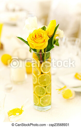 Yellow Roses In Vase With Lemon Yellow Roses In Vase With Sliced Lemon