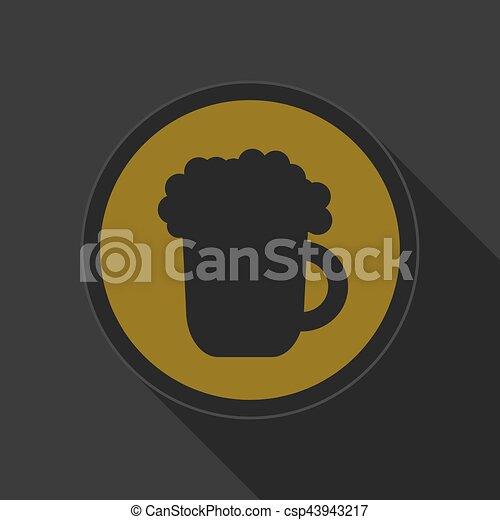 yellow round button - black beer with foam icon - csp43943217