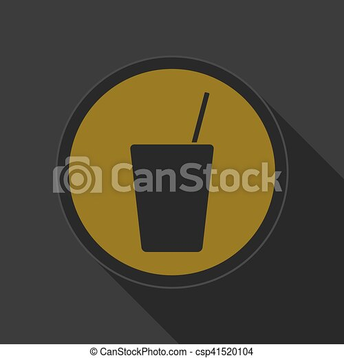 yellow round button, drink with straw - black icon - csp41520104