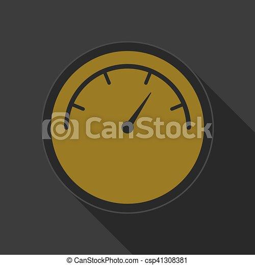yellow round button with black dial symbol icon - csp41308381