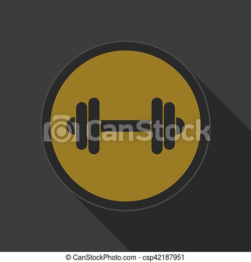 yellow round button with black dumbbell icon - csp42187951