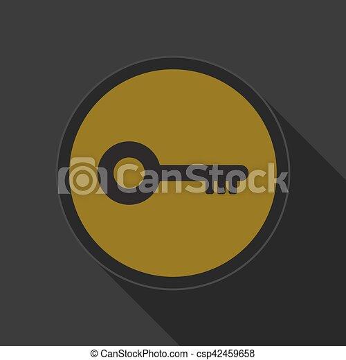 yellow round button with black key icon - csp42459658