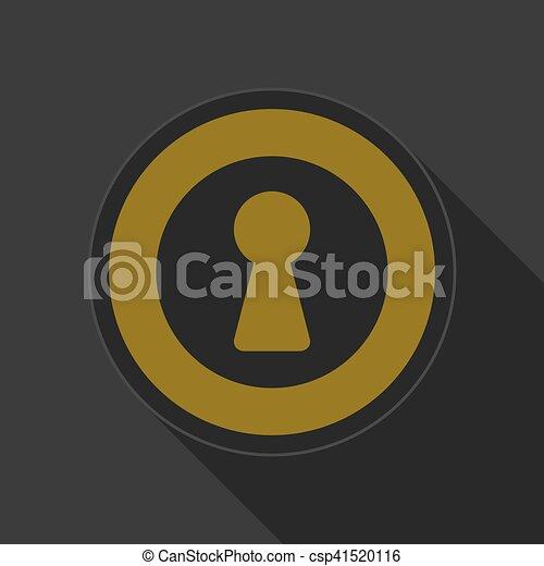yellow round button with black keyhole icon - csp41520116