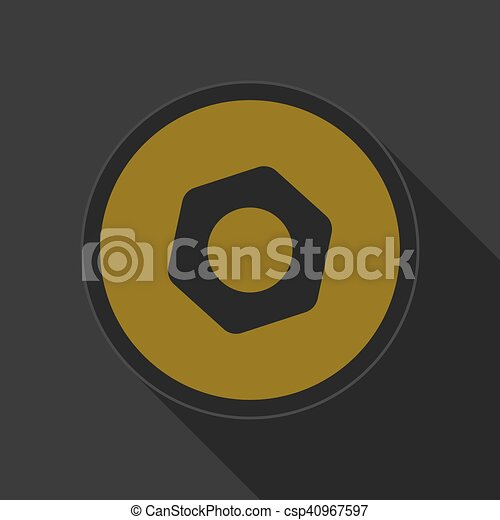 yellow round button with black nut icon - csp40967597