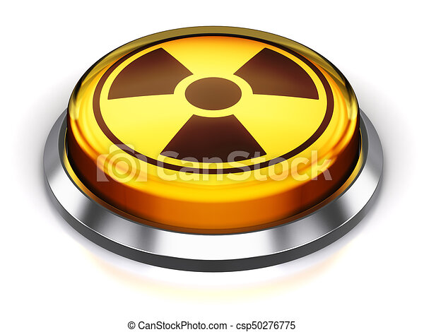 Yellow round nuke button with nuclear radiation symbol - csp50276775