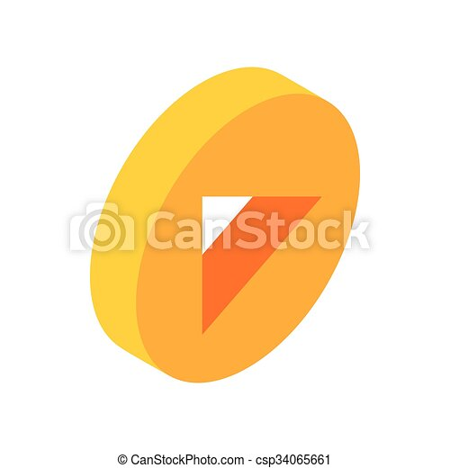 Yellow round play button isometric 3d icon - csp34065661