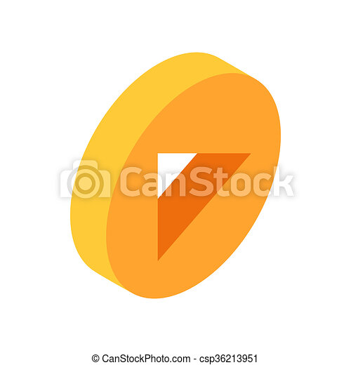 Yellow round play button isometric 3d icon - csp36213951