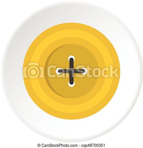 Yellow round sewing button icon circle - csp48700351