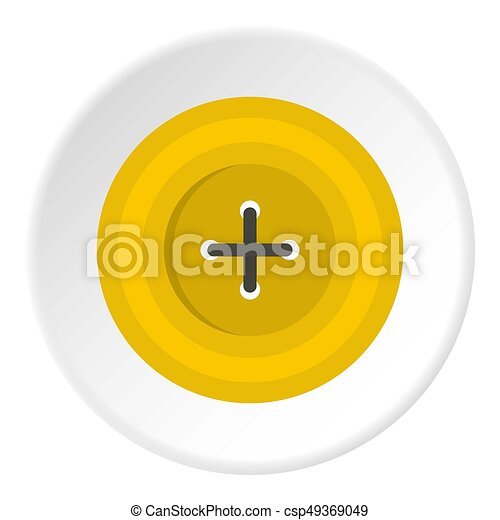 Yellow round sewing button icon circle - csp49369049