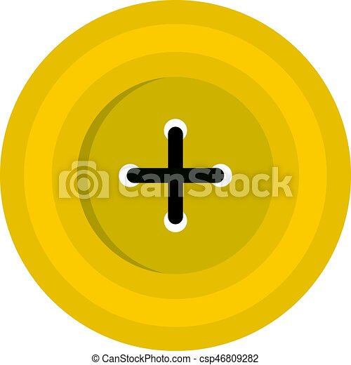 Yellow round sewing button icon isolated - csp46809282