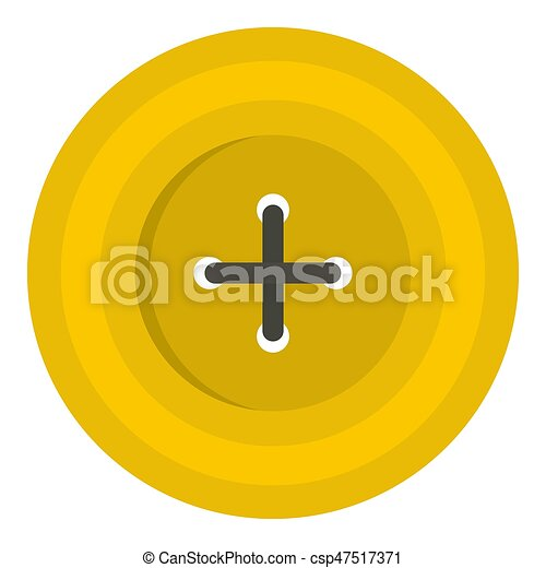 Yellow round sewing button icon isolated - csp47517371